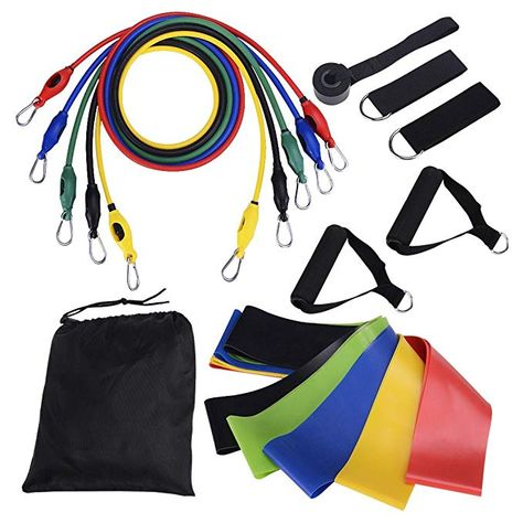 LifBetter 16 PCS Resistance Bands Set, Exercise Resistance Loops Rope Door Anchor, Foam Handles, Ankle Straps Fitness Gym Sport, Resistance Training, Physical Therapy, Home Workouts Review