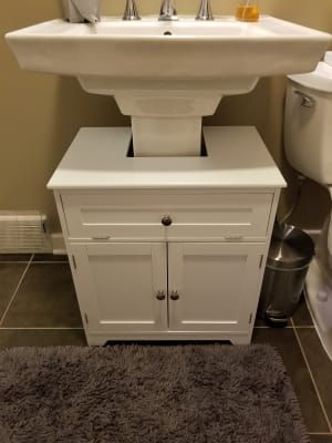 The Pedestal Sink Storage Cabinet Hammacher Schlemmer Pedestal Sink Storage Bathroom Storage Shelves Pedestal Sink