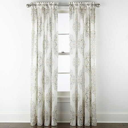 Jcpenney Home Hilton Medallion Light Filtering Rod Pocket Single Curtain Panel One Size Green In 2020 Panel Curtains Rod Pocket Curtain Panels Rod Pocket Curtains
