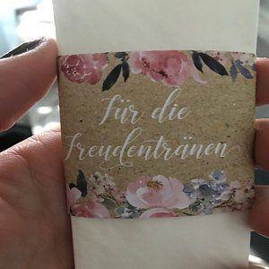 50 Stuck Freudentranen Taschentuch Banderolen Rosa Grau Taschentucher Freude Freudentranen Taschentucher