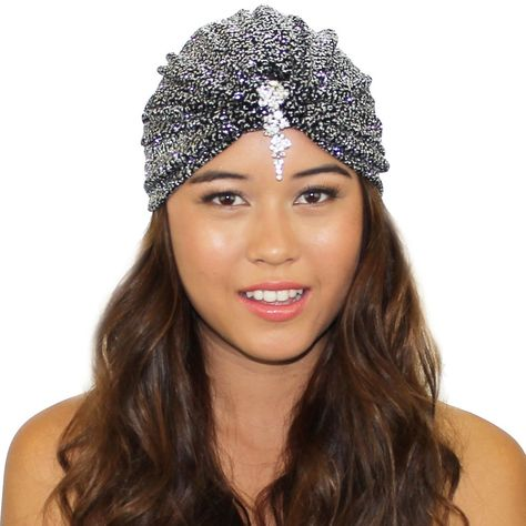 402f6854244 Velvet Glitter Crystal Stretch Full Turban Headband Great Gatsby Ear Warmer  Hat