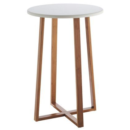 Habitat Drew Lacquer Tall Side Table Bamboo And White At