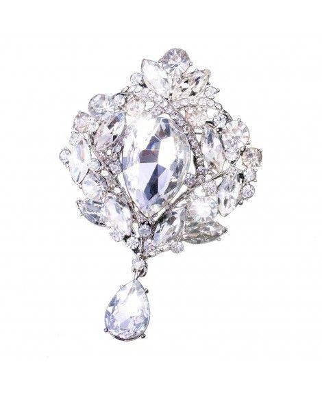 5d4749193a551 Yilanair Wedding Bridal Big Crystal Rhinestone Bouquet Brooch Pin ...