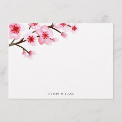 Painted Cherry Blossom Stationery Flat Cards Zazzle Com Flat Cards Stationery Cherry Blossom