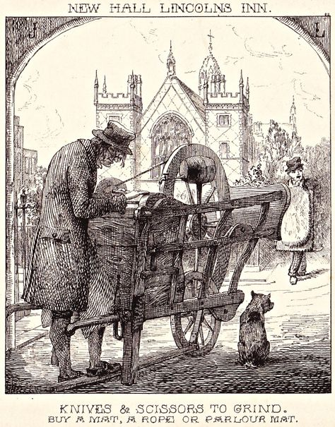 """""""London Cries & Public Edifices"""" by John Leighton (1851): """"Knife Grinder at the entrance to Lincoln's Inn Fields, with a seller of rush, rope and wool mats."""""""