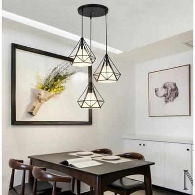 Lustre Suspension Industrielle Plafonnier 3 Lampe Triple