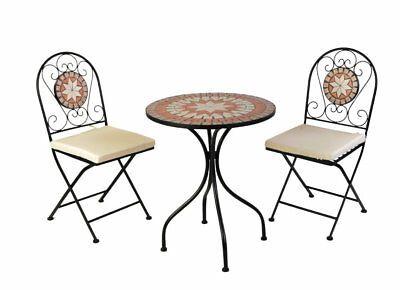 Bistro-Set Eisen Gartengruppe Sitzgruppe Stuhl Tisch Mosaik Klappbar MC4341