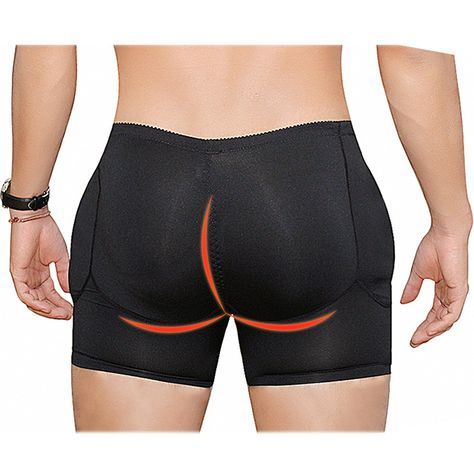 Fashion Men Plus Size Sexy Butt Lifting Slim Shapewear Compression Trunk Boxer Front Opening Pad Underwear - NewChic Mobile