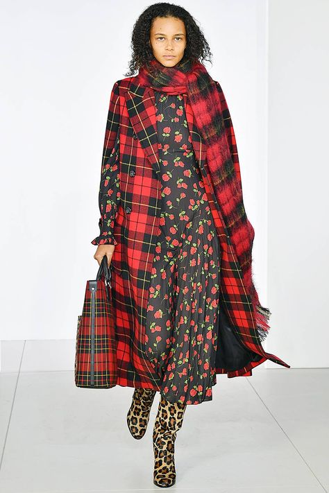 Autumn Winter 2018 Fashion Trends: Michael Kors Collection AW18 - plaid, florals and leopard pattern mix