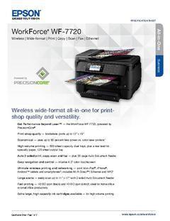 Epson Workforce Wf 7720 Wireless Color 19 Inkjet Wide Format All In One Printer Scanner Copier Fax C11cg37201 Of Color Printer Printer Printer Scanner Copier