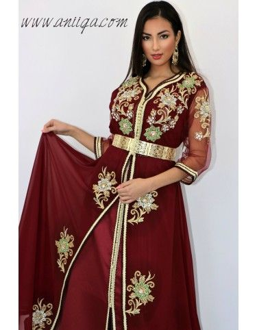 Caftan Robe Moderne Bordeaux Coupe Cloche Fait Main Caftan Caftan Marocain Robes Sans Manche
