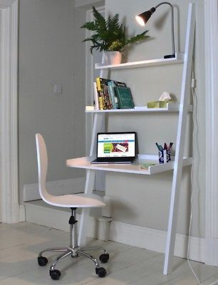 Leaning Ladder Desk White Office 3 Shelf Storage Wood