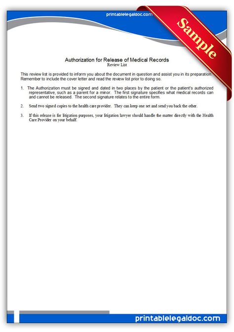 Free Printable Authorization For Release Of Medical Records Legal - automotive bill of sale