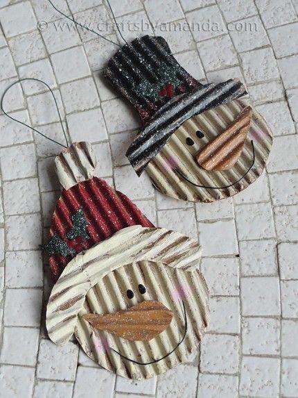 Snowmen ornaments from corrugated cardboard... such a simple idea!