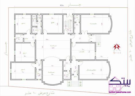 بسم الله الرحمن الرحيم السلام عليكم ورحمة الله وبركاته مخطط فيلا دور واحد Family House Plans Indian House Plans Home Map Design