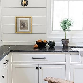 Black Soapstone Countertops With Shiplap Backsplash In 2020