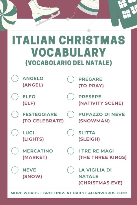 Italian Christmas Vocabulary (Part II) - Vocabolario del Natale