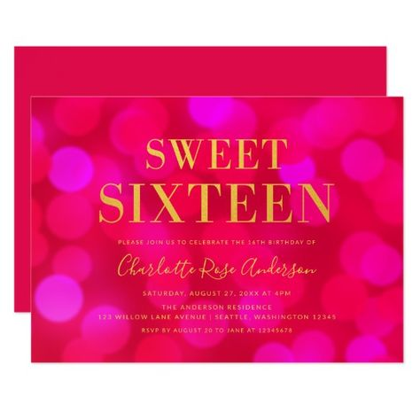 Pink Bokeh Lights Faux Gold Sweet Six Birthday