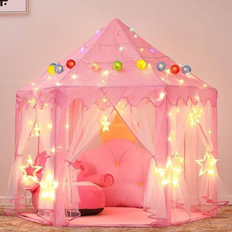 Princess Castle Play Tent for Girls with LED Star String Lights 3 Pack (Kids - 3 - Assembly Required), Pink