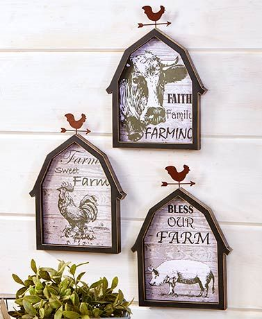 Cow Farmhouse Kitchen Wall Storage Basket Art Barn Country Rustic Home Decor