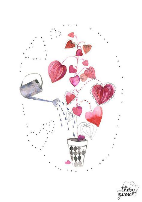 Affiche Plante D Amour Affiche Coeur Illustration Jardinage