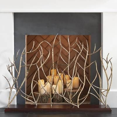 Branches Decorative Screen Candles In Fireplace Decorative Screens Decorative Fireplace Screens