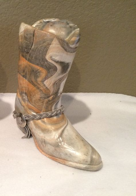 Vintage Marble Stone Like Cowboy Boot Vase by KMSCollectibles