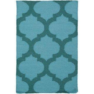 Lattice Flatweave Wool Area Rug