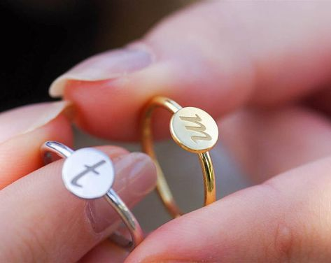 a084491320 Letter Rings Gold, Letter Rings, Rose Gold Initial Ring, Ring With  Initials, Stackable Rings Personalized, Stackable Initial Ring, Gold Ring