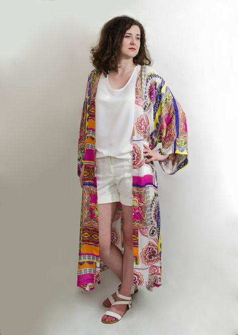 Floral long ethno long sleeves front open cotton kimono cardigan Beach festival cover up coat Boho chic oversized plus size clothing