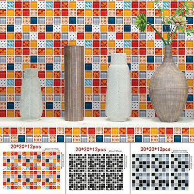 12Pcs 3D Mosaic Self-adhesive Tile Wall Sticker Kitchen Bathroom Home Decor