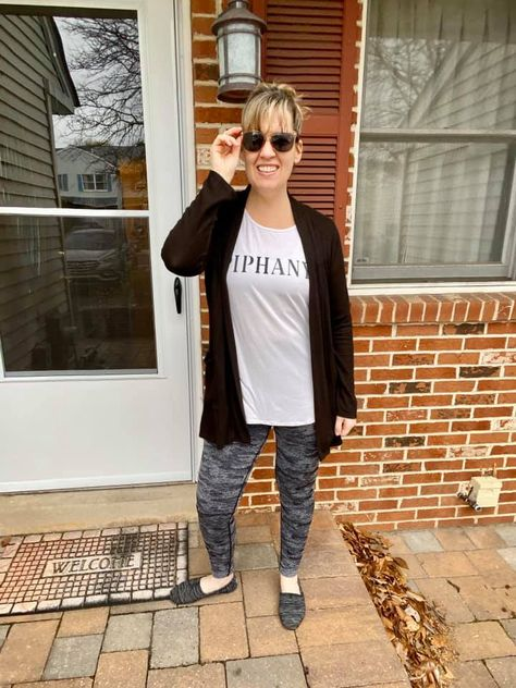 I love mixing Savvi Fit pieces with the Everyday line pieces.  This Oakland tee, Colette cardigan and Rolig leggings combo is my new fave! #athleisure #fitness #casualstyle #piphany #savvifit