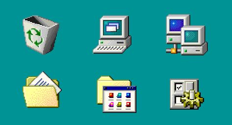 vaporwave computer Windows 98 Icons are Great Alex Meub Windows 98, Screen Design, Design Thinking, Pixel Art, Motion Design, Desktop Icons, Design Ios, Flat Design, Japon Illustration