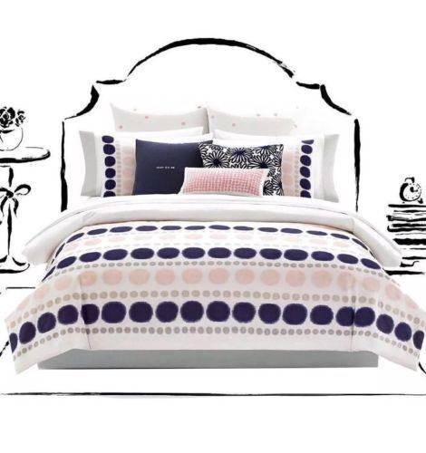 Kate Spade New York Ikat Dot Full Queen 3pc Comforter Set Pink
