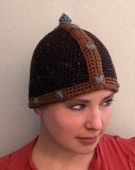 Crochet medieval helmet.no pattern but like it for a baby