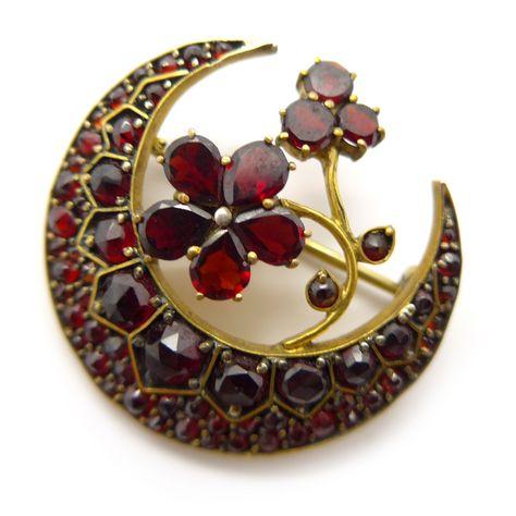 Vintage Antique Victorian Pinchbeck Gold Garnet Crescent Moon Brooch   Clarice Jewellery   Vintage Costume Jewellery