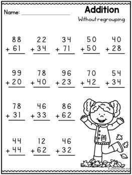 Fall Math Worksheets 2 Digit Addition And Subtraction Worksheets Bundle First Grade Math Worksheets Kids Math Worksheets Math Addition Worksheets