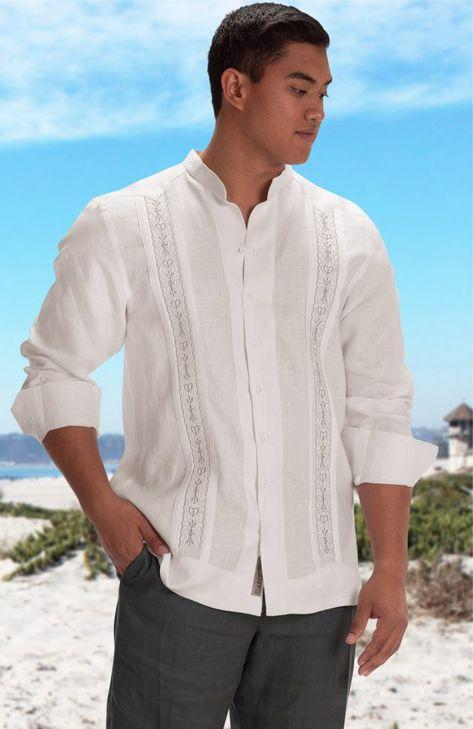 Isola- White With Light Gray Linen Wedding Shirt