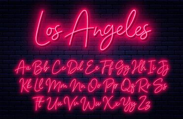 Glowing Neon Script Alphabet Neon Font With Uppercase And