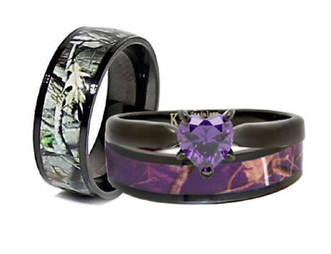 His And Hers Camo Rings Heart Stone Wedding Ring Set Camo