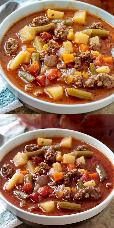 When it comes to comfort this Vegetable Beef Soup is where it's at. With a short list of ingredients this easy soup is delicious, hearty and satisfies the family! #soup #beef #hearty #recipes #delicious #recipe #tasty #easyrecipe #hamburgermeatstews