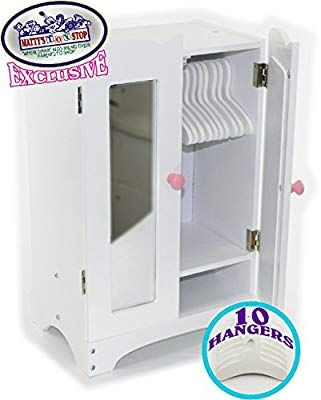 Amazon Com Matty S Toy Stop 18 Inch Doll Furniture White Wooden Armoire Closet 10 Hangers Fits American Wooden Armoire 18 Inch Doll Furniture Locker Storage