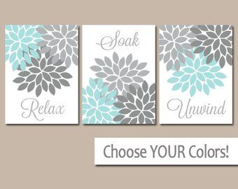 Aqua Gray Bathroom Wall Art Canvas Or Prints Flower Bathroom Pictures Relax Soak Unwind Bathro Bathroom Wall Decor Art Bathroom Artwork Gray Bathroom Walls