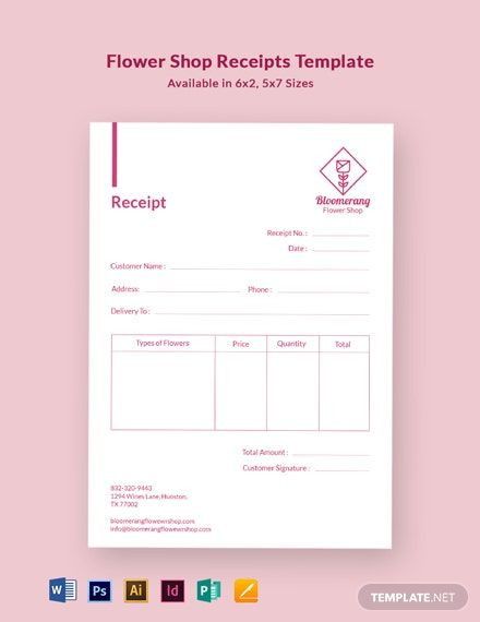 Flower Shop Receipt Template Free Pdf Word Doc Psd Indesign Apple Mac Pages Illustrator Publisher Receipt Template Templates Indesign