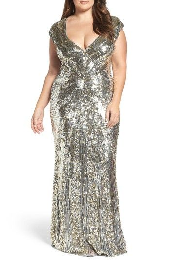 MAC DUGGAL SEQUIN PLUNGING V-NECK GOWN. #macduggal #cloth ...