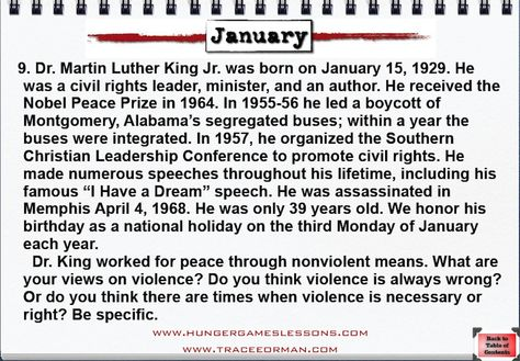 Hunger Games/Martin Luther King, Jr. Writing Prompt freebie