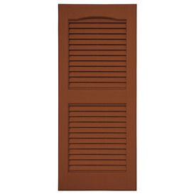 Severe Weather 2 Pack Earthen Red Louvered Vinyl Exterior Shutters Common 15 In X 71 In Actual 14 5 In X 70 5 In L1 Exterior Paint Colors Severe Weather Exterior