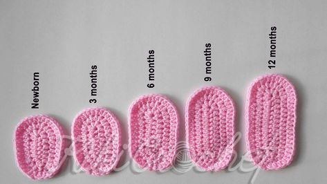 Crochet Sole for Baby Slippers - 5 Sizes + Chart - Crochet Baby Boots, Crochet Baby Sandals, Booties Crochet, Crochet Baby Clothes, Crochet Slippers, Crochet Baby Bootie Pattern, Crotchet Baby Shoes, Crochet Baby Stuff, Crochet For Baby