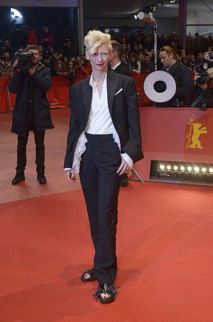 Tilda Swinton in Schiaparelli Haute Couture at the Berlin Film Festival premiere of The Grand Budapest Hotel.