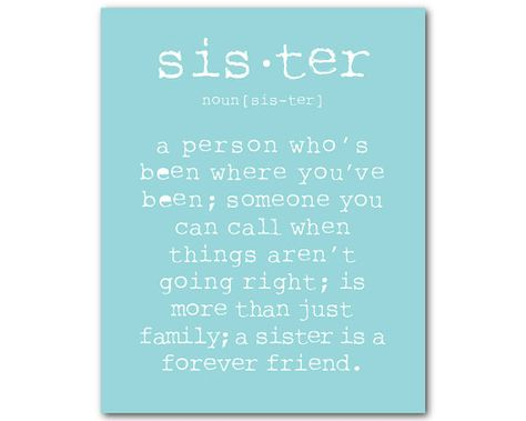 Unique Wall Art - A sister is a person Sister Quote - Gift for Sister - Typography Word Art PRINT - Nursery Wall Decor for little girl